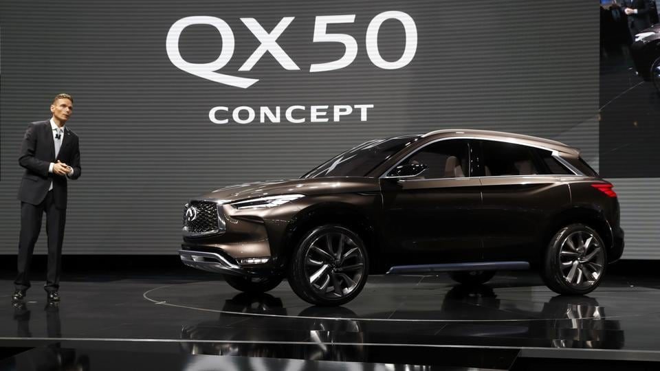 Roland Krueger, president of Infiniti Motor Company, introduces the Infiniti QX50 concept car. Infiniti is a luxury brand of Nissan, which showed the concept version of its redesigned QX50 mid-size SUV.  (REUTERS)