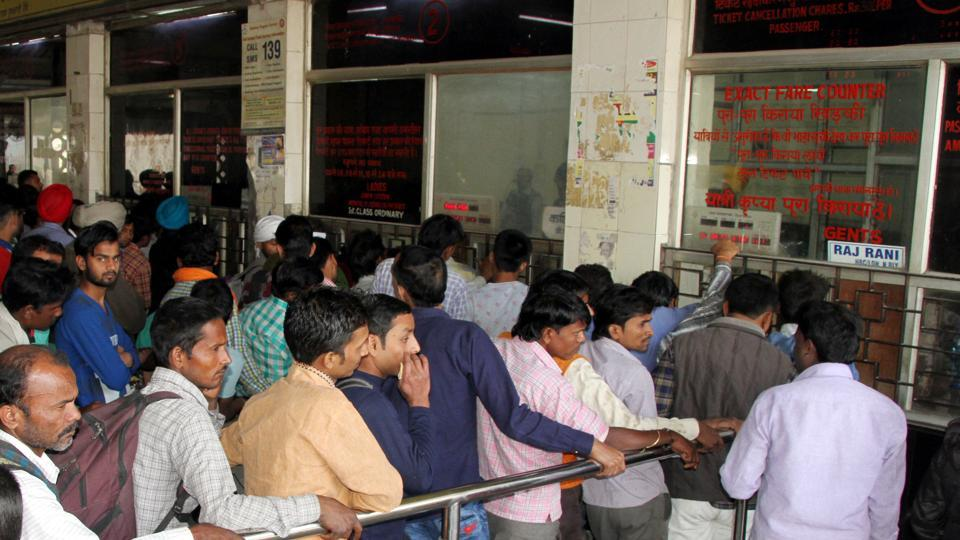 Ticket booking counter at a railway station in Ludhiana.