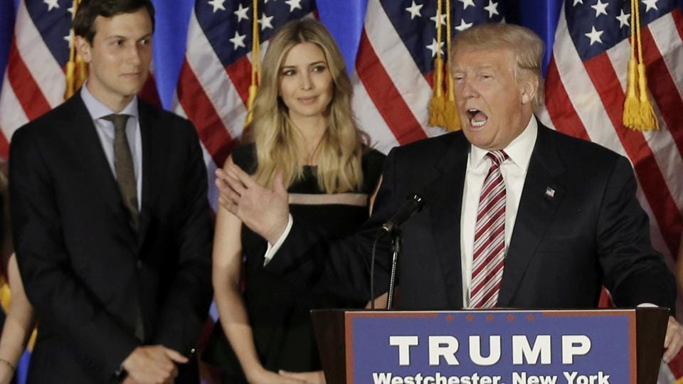 Donald Trump speaks as his son-in-law Jared Kushner (left) and his daughter Ivanka listen at a campaign event in Briarcliff Manor, New York.