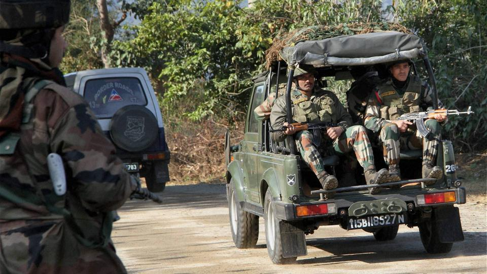 Security personnel arrive to take positions during a terror attack on General Engineering Reserve Force camp near LoC in Akhnoor sector about 95 km from Jammu on Monday.
