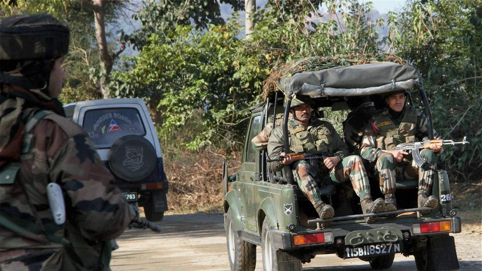 Security personnel arrive to take positions during a terror attack on General Engineering Reserve Force camp near LoC in Akhnoor sector, 95 kms from Jammu, Monday