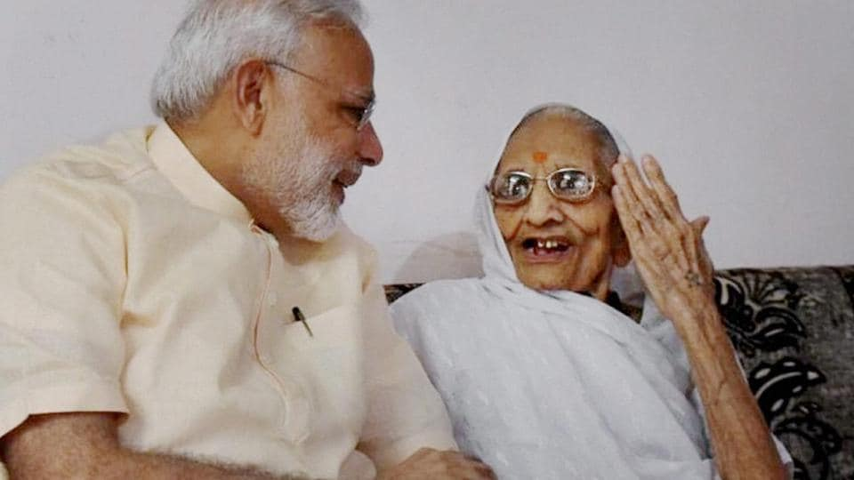 File photo of Prime Minister Narendra Modi with his mother in Gandhinagar.