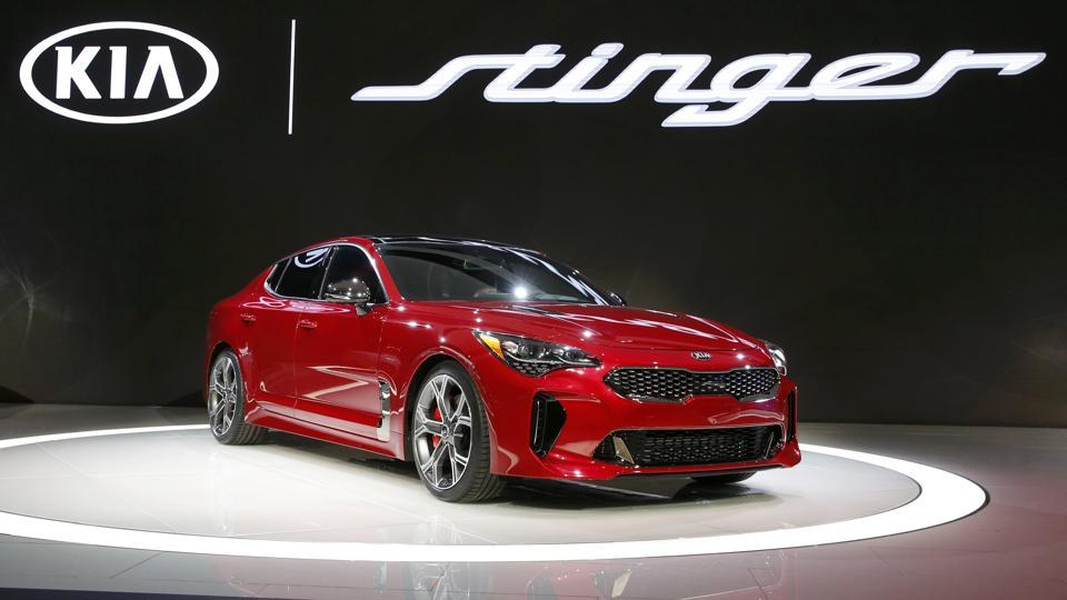 The 2018 Kia Stinger is a new 5-passenger fastback sport sedan, which Kia said is a production version of the concept version it showed earlier. The car was designed in Frankfurt. It will go on sale in the US market in late 2017. (REUTERS)