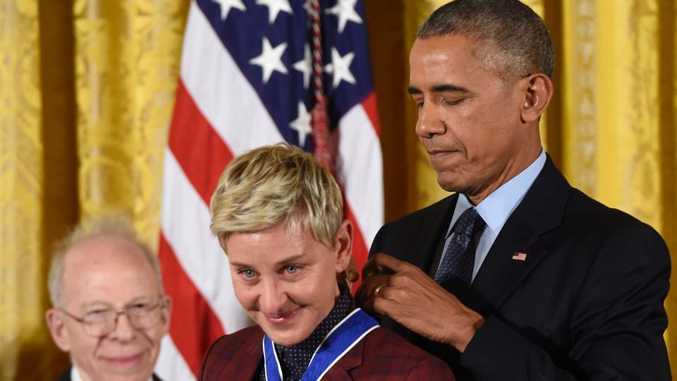 US President Barack Obama presents actress and comedian Ellen DeGeneres with the Presidential Medal of Freedom, the nation's highest civilian honour. President Obama has selected four Indian-American scientists for the highest honour given to science and engineering professionals.