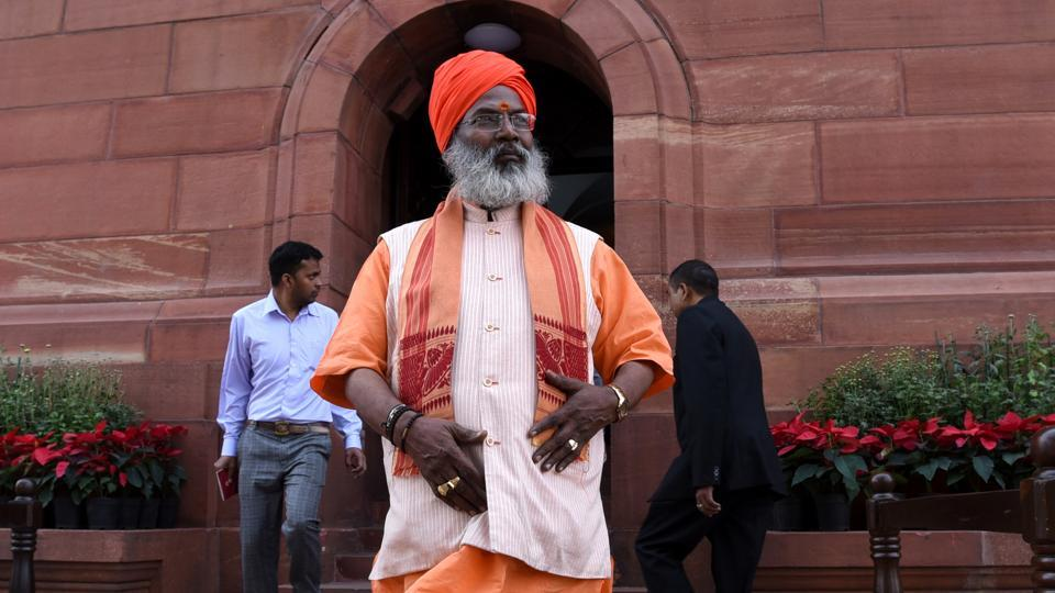 File photo of BJP MP lok Sabha Sakshi Maharaj at Parliament House. The Election Commission has issued a notice to the MP for his controversial remarks on India's population growth.