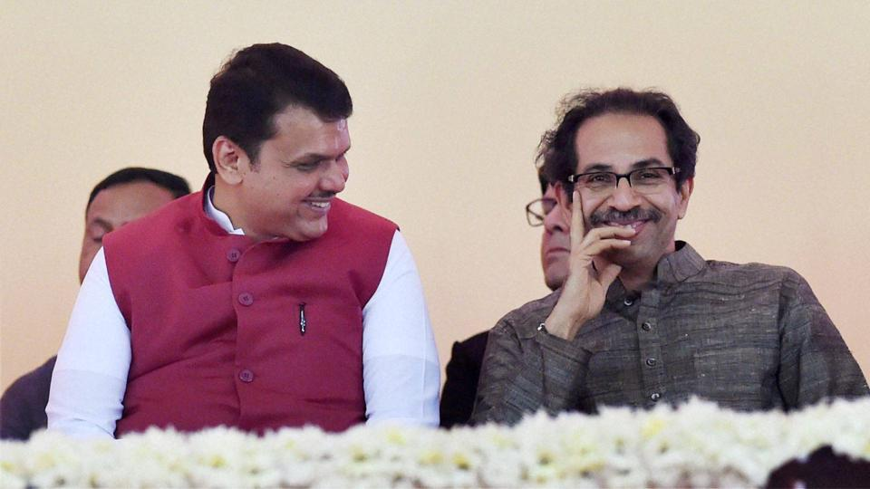 Maharashtra CM Devendra Fadnavis along with Shiv Sena President Uddhav Thackarey during the foundation stone laying ceremony of the two metro corridors and other projects, at Bandra Kurla Complex, in Mumbai on December 24.