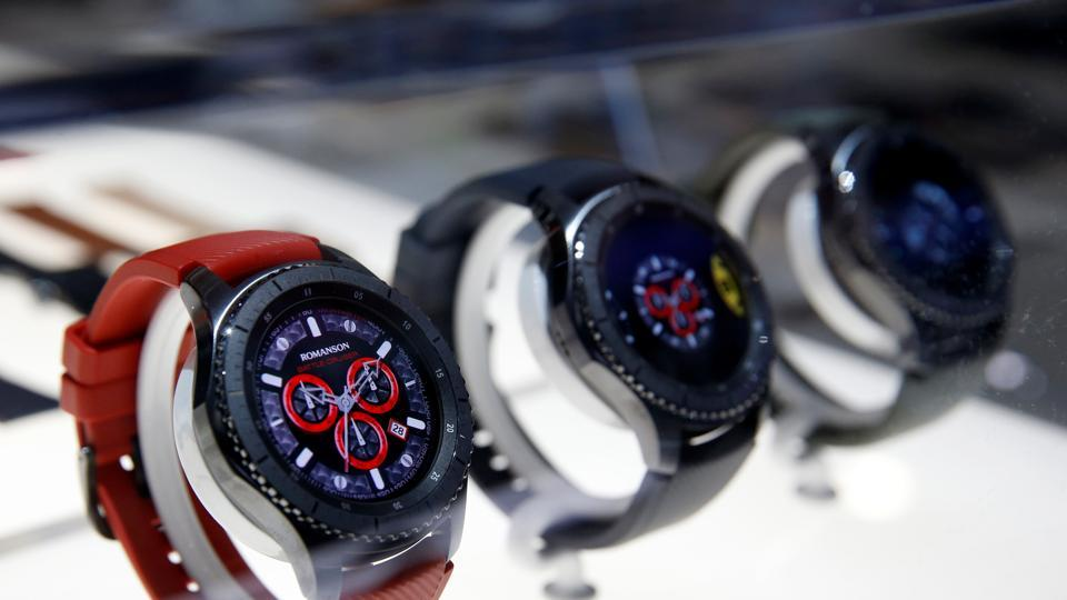 Samsung Gear S3 Frontier smart watches are displayed during the 2017 CES in Las Vegas, Nevada, January 5, 2017. REUTERS/Steve Marcus