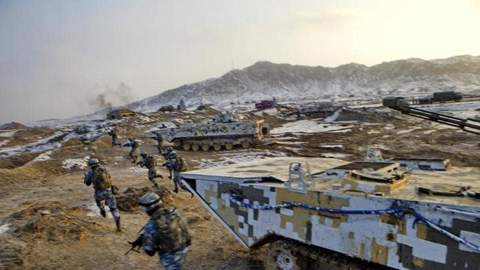 Chinese marines train in Xinjiang province