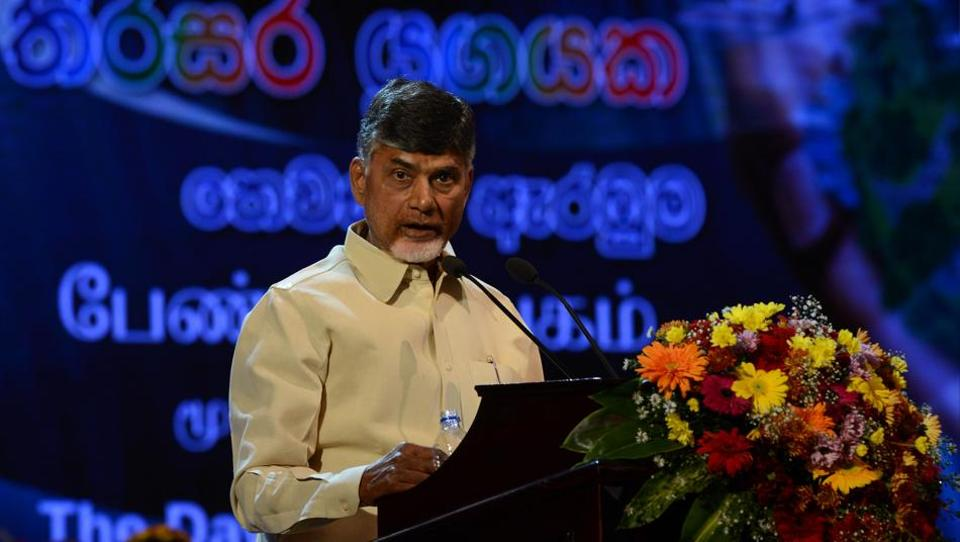 Andhra Pradesh chief minister Chandrababu Naidu addresses a ceremony in Colombo on January 8, 2017, to mark the second anniversary of President Maithripala Sirisena's election as head of state.