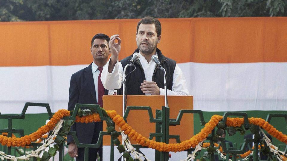 Congress vice-president Rahul Gandhi addresses the 132nd foundation day of Indian National Congress at the AICC headquarters in New Delhi.