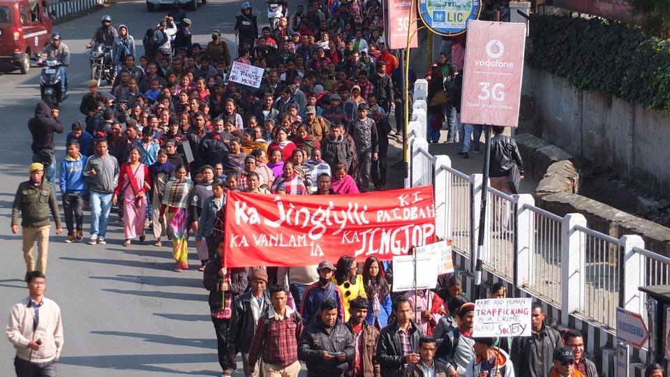 Around 500 activists and residents took the streets in Shillong after a 14-year-old girl was raped allegedly by rebel-turned-MLA Julius Kitbok Dorphang.