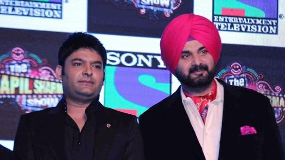 Kapil Sharma and Navjot Singh Sidhu at a promotional event .