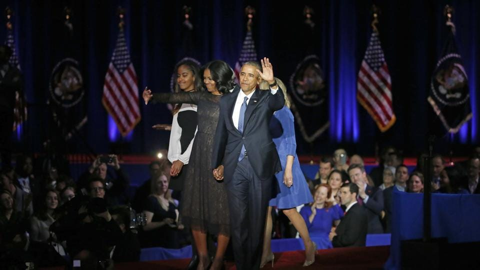 As President Barack Obama gave his presidential farewell address in Chicago, one member of the family was missing: their younger daughter, Sasha.