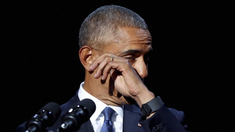 President Barack Obama wipes away tears while speaking during his farewell address at McCormick Place in Chicago.
