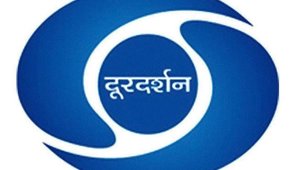 A logo of Doordarshan.