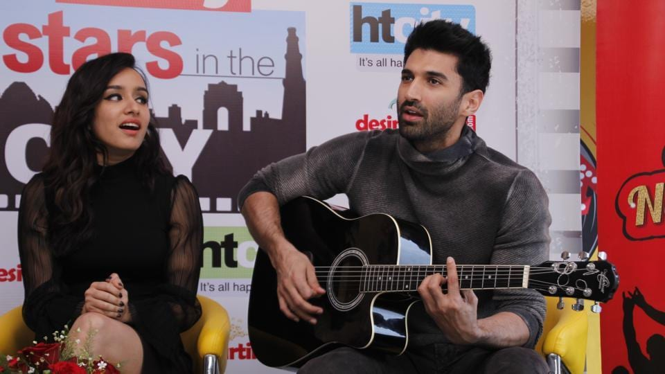Actors Shraddha Kapoor and Aditya Roy Kapur in HTCity Office to meet the winners of Stars in the City Contest.
