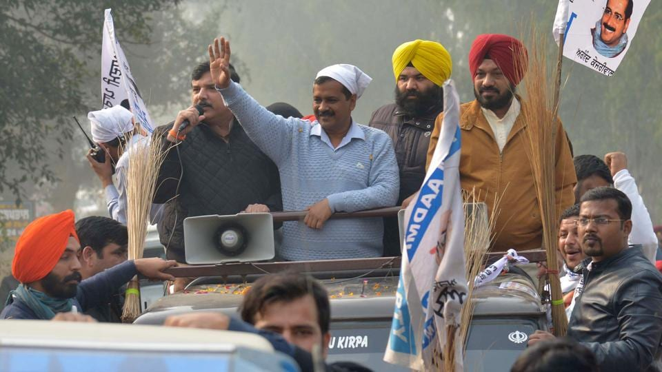 Aam Aadmi Party (AAP) convener and chief minister of Delhi Arvind Kejriwal campaigning in Punjab for the upcoming polls in the state.