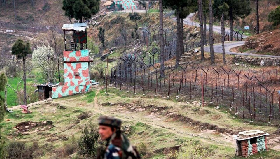 Poonch: A view of an Indian border post near fencing on the Line of Control (LoC) in Balakot Sector in Poonch on Sunday. PTI Photo (PTI10_16_2016_000215B)