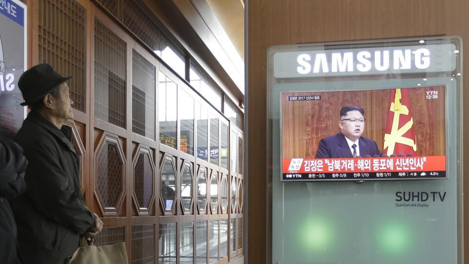 South Koreans watch a TV news program showing North Korean leader Kim Jong Un's New Year speech, at the Seoul Railway Station in Seoul, South Korea, Sunday, Jan. 1, 2017. North Korea's development of banned long-range missiles is in