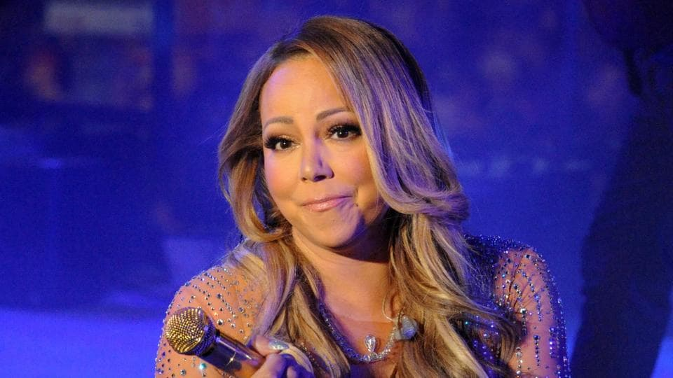 Mariah Carey performs during a concert in Times Square on New Year's Eve in New York.