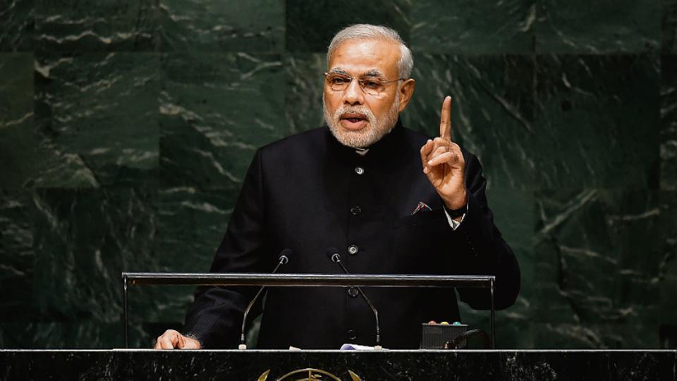 Prime Minister Narendra Modi at the United Nations General Assembly on September 27, 2014.