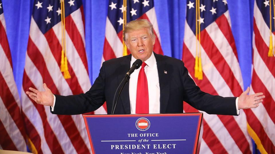 President-elect Donald Trump speaks at a news conference at Trump Tower.