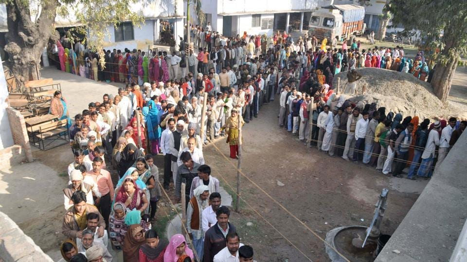 An enormous turnout is witnessed at a polling station in Bareilly, Uttar Pradesh, during the assembly elections in  2012.  It is time to prescribe a ceiling for political parties' expenditure like that for the candidates