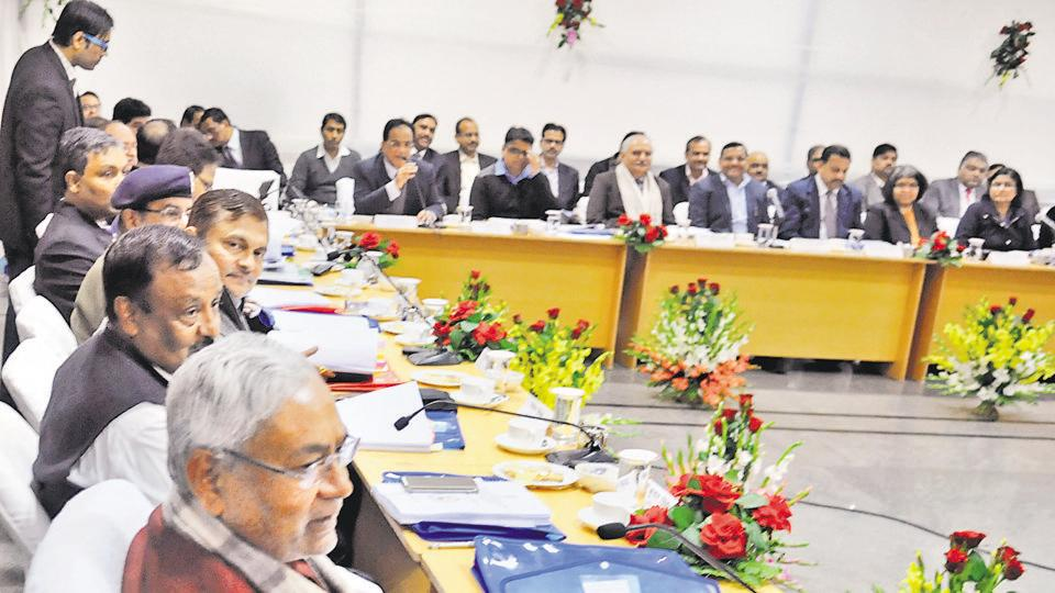 Bihar chief minister Nitish Kumar holding a meeting with officials at Samvad in Patna on Tuesday. Photo: AP Dube/Hindustan TImes