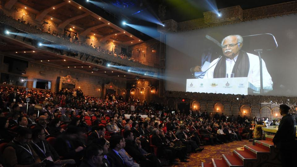 Haryana chief minister Manohar Lal Khattar addresses the gathering at the inaugural event of Pravasi Haryana Divas at Kingdom of Dreams on Wednesday, 11 January 2017.