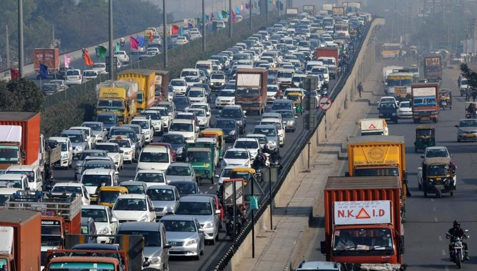 Bumper-to-bumper traffic on the Delhi-Gurgaon Expressway because of traffic restrictions for Pravasi Haryana Divas at Kindom of Dreams in Sector 29 on Wednesday.