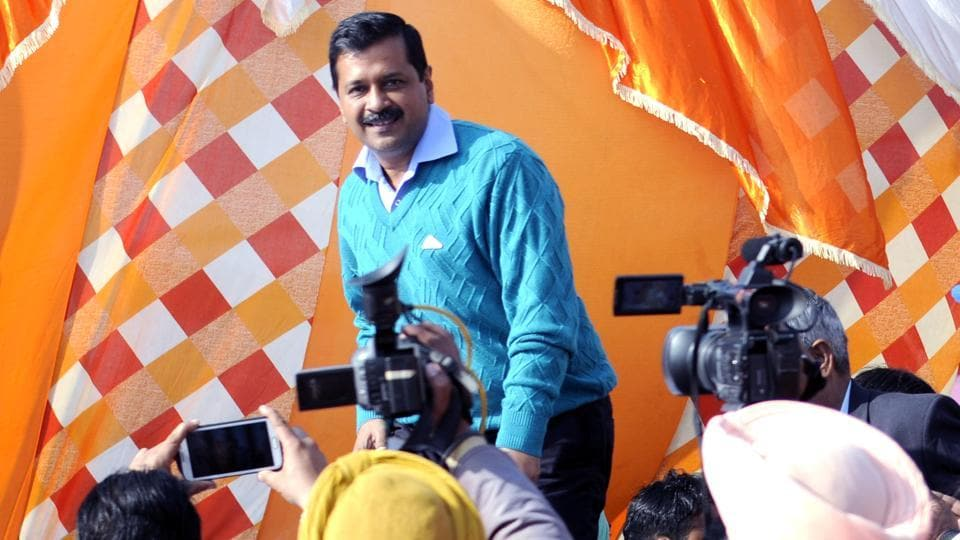 AAP chief Arvind Kejriwal at a rally near Patiala on Wednesday, January 11.