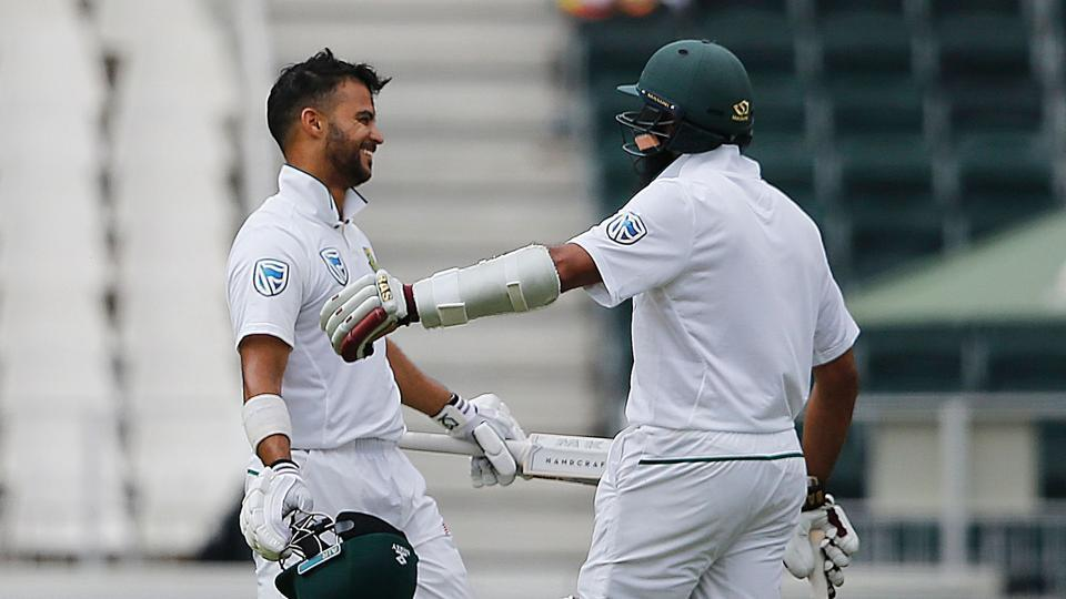 Hashim Amla scored a century in his 100th Test while he shared a 292-run stand with JP Duminy, who smashed 155 to help South Africa to 338/3 on the first day of the third Test in Johannesburg