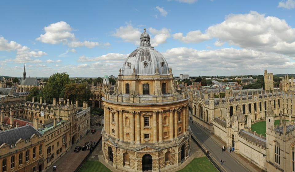 (Above) The University of Oxford in Britain. Figures released by the Higher Education Statistics Agency show that 16,745 Indian students registered at higher education institutions during the year, marking a new low since the decline began in 2010.
