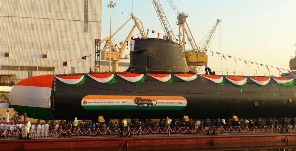 Khanderi submarine being launched at Mazgaon on Thursday.