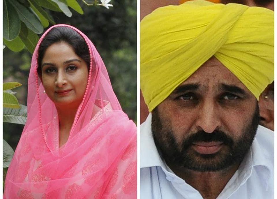 Union minister Harsimrat Badal and (left) Sangrur MP Bhagwant Mann.