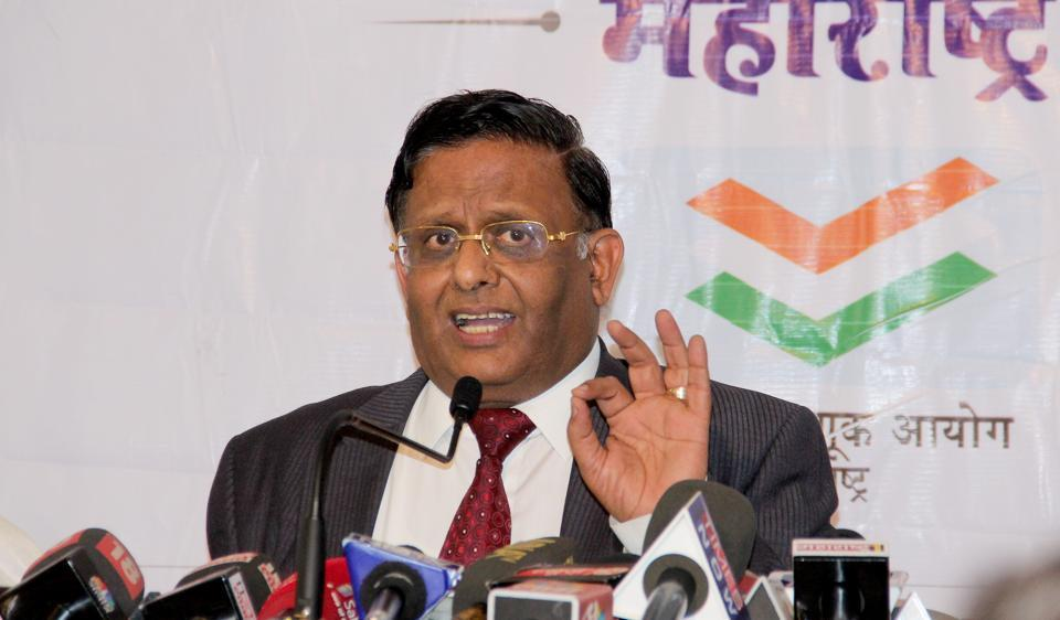 State election commissioner Dr J H Saharia announces the schedule for the elections, on Wednesday.