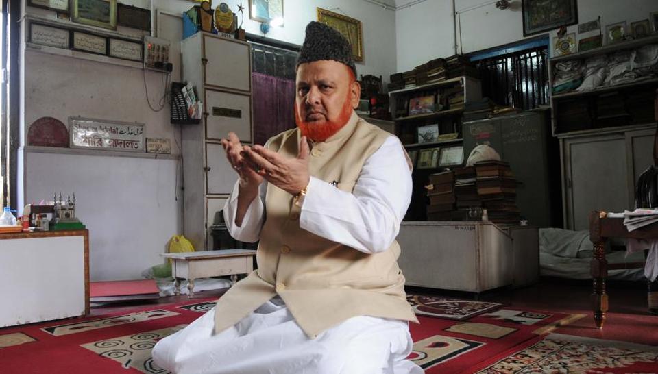 Noor-ur-Rehman Barkati , Imam of Tipu Sultan Mosque offering Namaz at his office in Kolkata.