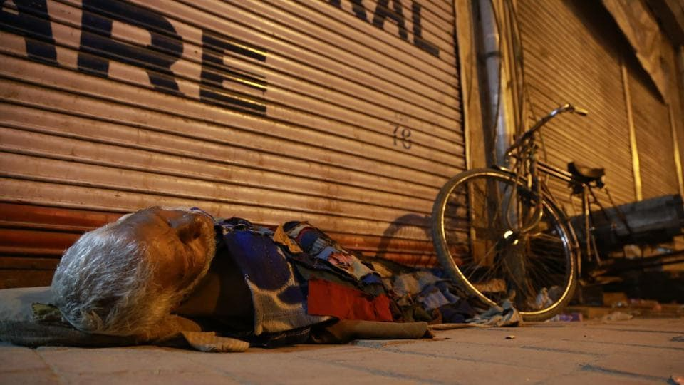 SOUND SLEEPER: An old man sleeping on the floor in front of a shop in Paharganj. (AMAL KS/HT PHOTO)