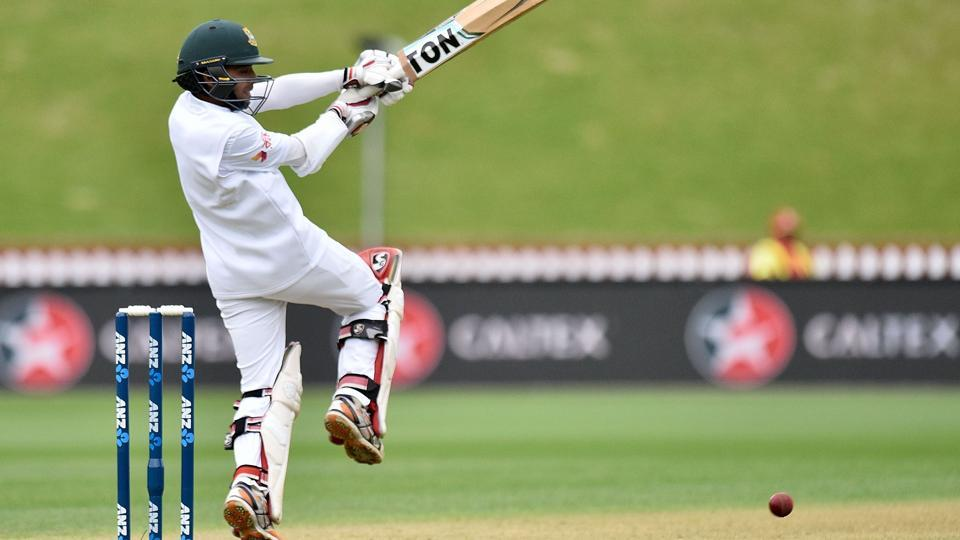 Bangladesh cricket team's Mominul Haque during Day 1 of the first Test match against New Zealand cricket team at the Basin Reserve in Wellington on Thursday
