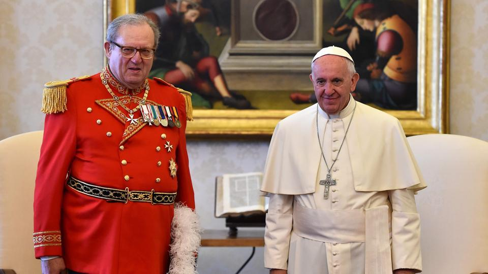 Pope Francis with Robert Matthew Festing, prince and grand master of the sovereign order of Malta during a private audience at the Vatican. The Order of Malta, the ancient Roman Catholic institution, has criticised as