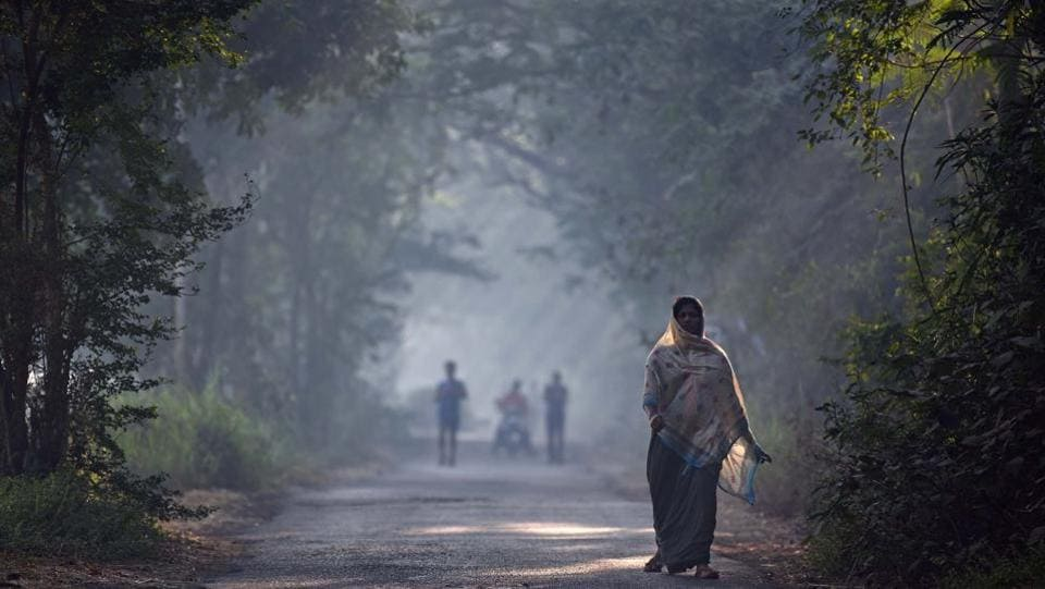 woman walks in Aarey Colony on a foggy morning in Mumbai. (Pratham Gokhale/HT PHOTO)