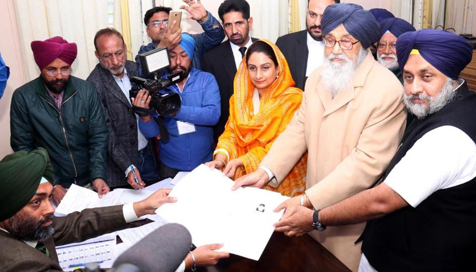 Punjab chief minister Parkash Singh Badal along with Union minister Harsimrat Kaur Badal and Punjab deputy chief minister  Sukhbir Singh Badal  filing nomination papers fromLambi  constituency at MIMIT college in Malout on Thursday.