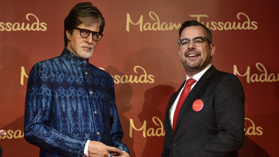 Actor Amitabh Bachchan's wax figure unveiled by Marcel Kloos, Director New Opening Europe, during the opening of India's first Madame Tussauds museum in Delhi at Regal Building, Connaught Place,  in New Delhi.  (Raj K Raj/HT PHOTO)