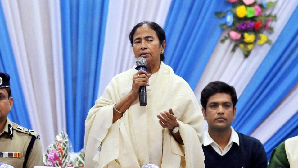 West Bengal Chief Minister Mamata Banerjee addresses at the Babughat transit camp for Gangasagar Mela, in Kolkata on Wednesday, Jan 11, 2016.
