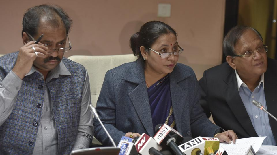 MCD Mayors Satya Sharma (east), Shyam Sharma (south), Sanjeev Nayyar (north ) during a press conference at the Civic Centre in New Delhi on Thursday.
