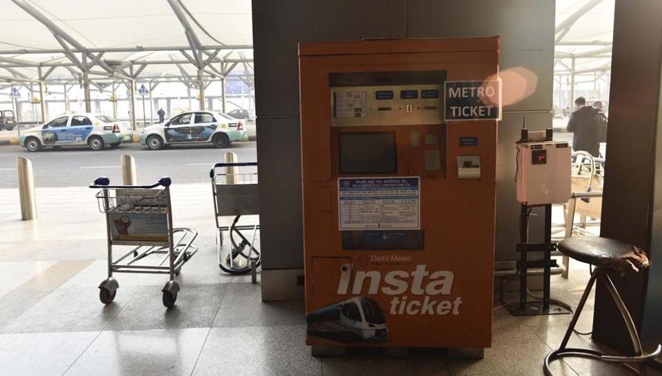 The machines have been made colourful and kept next to the taxi counters so that passengers can notice them.