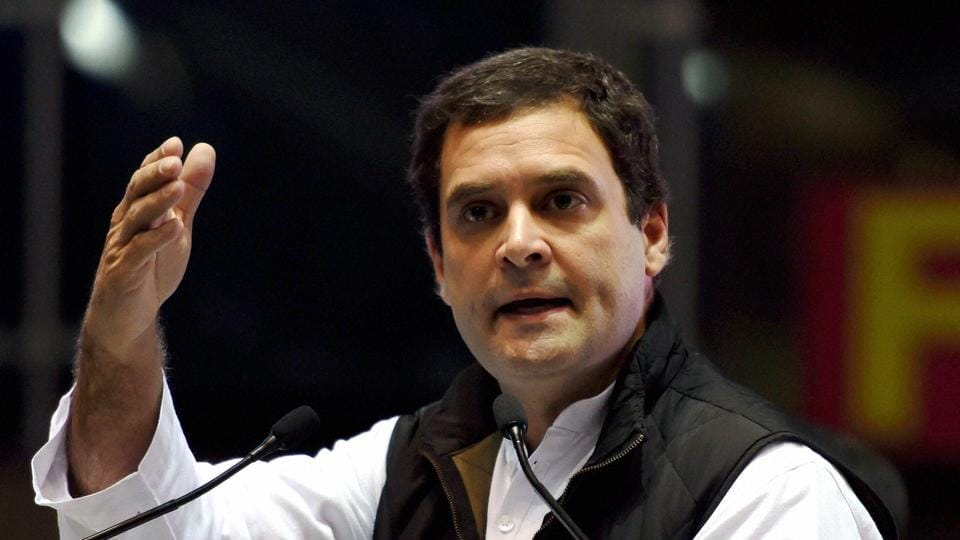 Congress leader Rahul Gandhi addresses party workers in New Delhi. The party vice president is looking to revive the party in Uttar Pradesh.