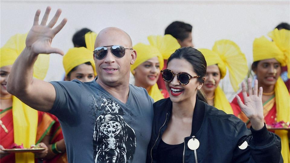 Deepika Padukone welcomes Vin Diesel at Mumbai airport for the promotion of their film xXx: Return of Xander Cage on Thursday.  (PTI)