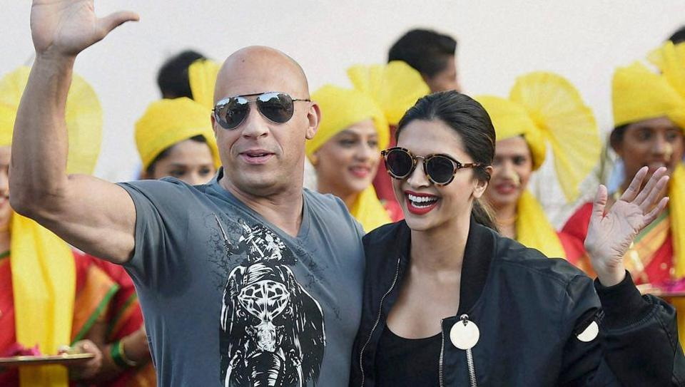 Hollywood actor Vin Diesel and Bollywood star Deepika Padukone at Mumbai airport for the promotion of their film XXX: Return of Xander Cage in Mumbai.