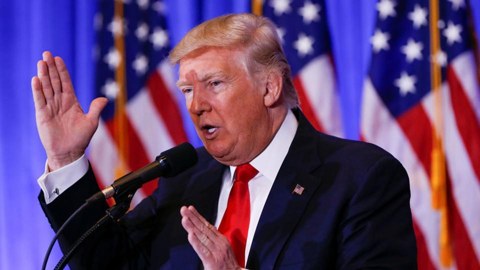 US President-elect Donald Trump speaks during a press conference in Trump Tower, Manhattan.